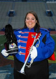KU Marching Band trumpet section leader Melissa Harmon