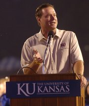 Men's basketball coach Bill Self talks about how KU is a great place to be a champion Monday at Traditions Night at Memorial Stadium.