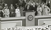 From left, Elizabeth and Bob Dole, along with Nancy Reagan listen to Ronald Regan as he gets ready to introduce Gerald Ford, who is beside his wife, Betty. The photo was taken at the 1976 Republican National Convention at Kemper Arena in Kansas City, Mo.