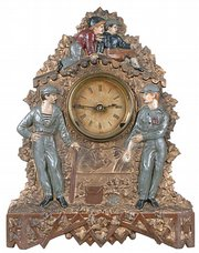 More than $10,000 was bid at Robert Edward Auctions of Watchung, N.J., for this rare iron clock depicting once-famous baseball players. Today few remember outfielder Bob Ferguson and pitcher Bobby Mathews, who played in the 1870s. The clock was made by Nicholas and Karl Muller.