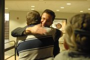 Mark Griffith Sr. hugs Chief Assistant District Attorney David Melton after finding out Tuesday that Ramona Morgan was convicted of second-degree murder, stemming from an incident nearly a year ago in which Griffith's son, Rolland, was killed while working on a repaving project along U.S. Highway 59 south of Lawrence.