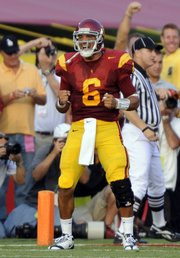 USC quarterback Mark Sanchez celebrates a touchdown pass in the first half. No. 1 USC destroyed No. 5 Ohio State, 35-3, on Saturday night in Los Angeles.