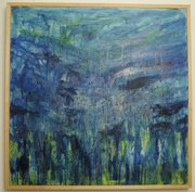 "Elizabeth Rowley&squot;s painting ""Submergence,"" an oil encaustic on canvas, 36""x36"""