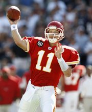 In this Sept. 7 file photo, Kansas City quarterback Damon Huard passes against the New England Patriots in Foxborough, Mass. Chiefs coach Herm Edwards said Huard - not Tyler Thigpen - would start this Sunday against Denver at Arrowhead Stadium.