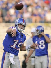 Kansas freshman quarterback Kale Pick throws warm-up passes before the Jayhawks' home game against Sam Houston State on Sept. 20, 2008. Pick will be trying this spring to establish himself as the No. 2 quarterback.