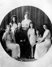 Russia's Czar Nicholas II, seated second from left, and his family are shown in this undated file photo. Bottom row, from left, are Princess Olga, the czar, Princess Anastasia, Prince Alexei and Princess Tatiana. Top row from left are Princess Maria and Czarina Alexandra.