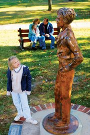 A statue dedicated to Amelia Earhart, in Atchison.