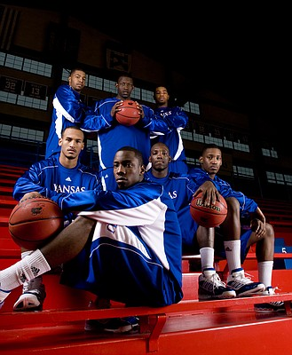 Nick Krug/Journal-World Photo.Kansas newcomers front row sitting: Travis Releford, Tyshawn Taylor, Tyrone Appleton and Quintrell Thomas. Back row from left are Markieff Morris, Mario Little and Marcus Morris.