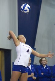 KU junior Melissa Grieb serves to Oklahoma on Saturday during the Jayhawks' 3-1 victory over the Sooners at Horejsi Center.