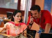 "A scene from ""Hello,"" a Bollywood film about the lives of India&squot;s call-center workers, is shown in this promotional photo. As India&squot;s $64 billion outsourcing industry grows, the curious world of call centers is becoming rich fodder for novels, movies, TV commercials and stand-up comedy."