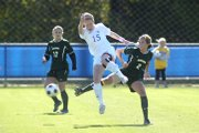 Kansas' Shannon McCabe (15) defends against a Baylor opponent. KU beat the Bears, 1-0, Sunday at the Jayhawk Soccer Complex.