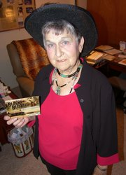 """Marge Heeney is seen in her Topeka home. Heeney was interviewed by a crew from the History Channel for its documentary """"Black Blizzard,"""" about the Dust Bowl days."""