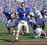 KU's Jake Sharp goes in for the first of his three first-half touchdowns on Nov 1, 2008 against Kansas State.