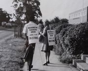 Ruth Worthy, now 91, belongs to a generation of black Americans who have journeyed from some of the rawest and brutal eras of racism to the present. Here, she walks a picket line during a teachers strike in Washington.