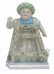 Although there were no cameras in the early 19th century, images of children tell much about their lives. This 6 1/2-inch figurine shows a child in a walker. The toy lamb at her foot is a copy of a popular stuffed toy made with real wool. Her hat with a tassel at the back is a European style. The figurine, with a German maker's mark used about 1900, sold for $75.