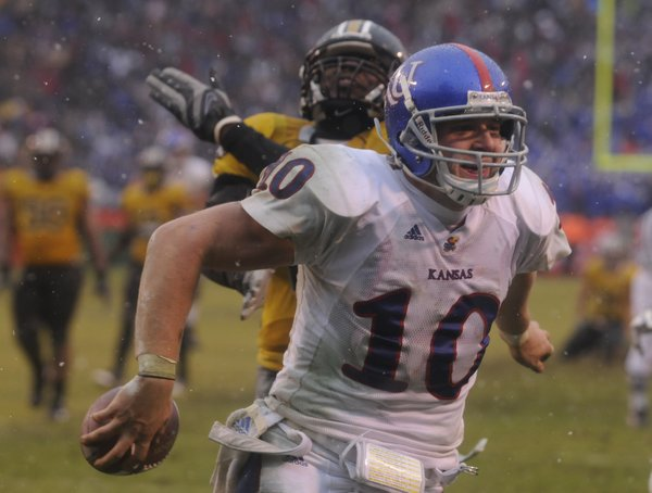 Kansas receiver Kerry Meier flashes a smile as he runs in what proved to be the winning touchdown against Missouri late in the fourth quarter Saturday, Nov. 29, 2008 at Arrowhead Stadium.
