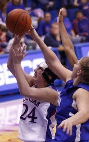 Kansas forward Nicollette Smith fights for a shot against New Orleans at Allenfield House on Sunday, November 30, 2008.