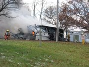 Fire consumes a mobile home at 619 Whitfield in Lecompton.