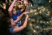 Anna McCurdy, 11, lower left, her sister Kate McCurdy, 12, and other children with the Four Leaf Clover 4-H Club wrap strings of Christmas lights around their tree at the 2008 Festival of Trees, held at Liberty Hall, 642 Mass. Trees were individually autioned to the highest bidder, with proceeds going to charity.