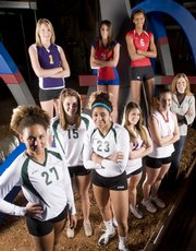 All Area volleyball players: Front row from left are Taylor Manning, Free State, Melissa Burch, Free State, Chantay Caron, Free State, Kendal Abel, Eudora High, Chrissie Jeannin, Tonganoxie High and coach Kendra Oberzan, Ottawa High. Back row from left are Kylie Shufflebarger, McLouth, Nicole Rockhold, Oskaloosa High and Tayler Tolefree, Lawrence High. The players were photographed at Abe and Jake's Landing on Dec. 10, 2008.