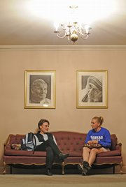 From left, Sister Elena Morcelli talks with Kansas University senior Rachel Schieber, of Kansas City, Mo., at the St. Lawrence Catholic Center. 
