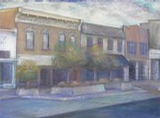 A traditional drawing of downtown Lawrence by Amelia Magerl.