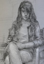 A black-and-white sketch drawn by Amelia Magerl, a Lawrence High School senior and ArtStar winner for December. Magerl hopes to pursue a career in graphic design.