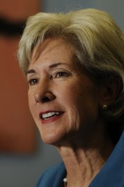 Gov. Kathleen Sebelius talks on Tuesday with reporters about energy issues, the state's ties with the new president, and gambling, among other issues she wants to tackle in 2009.