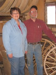 The Owners of Werner Wagon Works, Connie and Don Werner, stand in their Horton shop. The couple are thrilled to have one of Don's wagons chosen to be in President-elect Barack Obama's Inauguration Day parade on Jan. 20.