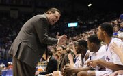 Kansas head coach Bill Self turns up the intensity with forward Marcus Morris after pulling Morris during the second half Tuesday at Allen Fieldhouse.