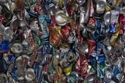 Compacted and bundled aluminum cans await shipping out of the KU recycling center.