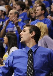 Transfer Jeff Withey looks on from the bench during the second half of the Jayhawks' Jan. 13 game at Allen Fieldhouse.