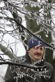 Tree branches covered in ice frames Merab Abdaladez, who walks across KU campus in December.