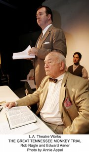 "Ed Asner, seated in front, portrays William Jennings Bryan in the L.A. Theatre Works presentation of ""The Great Tennessee Monkey Trial."""