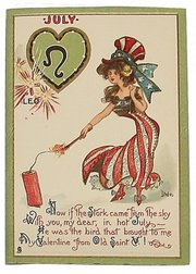 This Raphael Tuck Valentine postcard printed about 1900 is one of a set of 12 cards, each based on a sign of the zodiac. July's sign is Leo, but the card mentions a stork, not a lion. The set brought $58 at an Alderfer Auction sale of postcards in Hatfield, Pa.