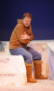 "Travis Berkley rehearses ""The Ice Wolf,"" which will be presented Friday at the Lawrence Arts Center, 940 N.H."