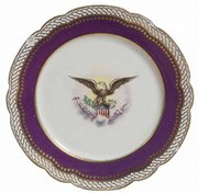 This plate is from the original White House set of dishes used by President Abraham Lincoln. It sold recently at Cowan's Auctions in Cincinnati for $14,100, even though it has a chip on the edge.