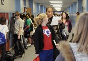 West Junior High School students travel the hallway between classes earlier this month. Some of them shared what their agenda would be for President Barack Obama.