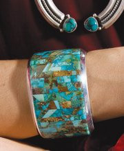 This mosaic cuff bracelet of sterling silver and turquoise from Nezhoni incorporates some of spring's fashion trends.