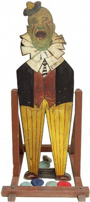 "This swinging figure, 64 by 19 inches, is from the ""Pimpo The Clown Bean Bag Toss"" carnival game. It's colorful and amusing, and shows the originality of the game creator. Cyr Auctions of Gray, Maine, offered it at auction in January with a presale estimate of $2,000 to $3,000."
