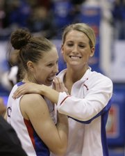 Kansas' Katie Smith, right, hugs teammate Ivana Catic (3), who scored a season high 10 points during Saturday's game against Nebraska Feb. 28, 2009, at Allen Fieldhouse.