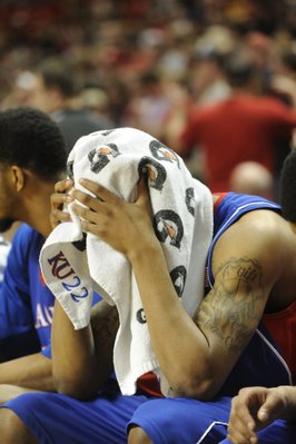 KU's Marcus Morris holds a towel over his head as the Jayhawks fall to Texas Tech on Wednesday, March 4, 2009 at United Spirit Arena in Lubbock, Texas.