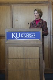 "Susan Eisenhower, the granddaughter of Pres. Dwight Eisenhower, made her third stop on a cross country speaking and listening tour Thursday at the Dole Institute. She addressed the need to create a national energy-transmission ""superhighway."""