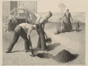 """Tree Planting Group,"" a lithograph by Grant Wood, also part of the exhibition."