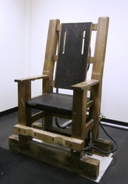 Nebraska's electric chair is seen in Lincoln in this file photo from April 16, 2007. Some residents of the city of McCook, Neb., with a population of just under 8,000, have offered to take the chair off the Nebraska Department of Corrections' hands and place it in a museum.