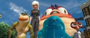 "The Missing link, left, Ginormica, B.O.B., Insectosaurus and Dr. Cockroach band together to stop an alien invasion in ""Monsters vs. Aliens."""