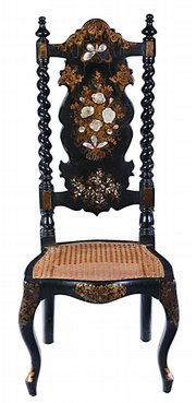Mother-of-pearl inlay and painted and gilded decorations embellish this slipper chair probably made in England. The seat is 15 1/2 inches from the floor. The chair sold for $329 at a Sloans & Kenyon auction in Chevy Chase, Md., in November.