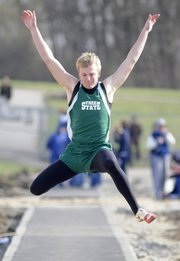 Free State junior Keene Niemack competes in the long jump at the Lawrence Invite. Niemack took first on Tuesday at Free State High.
