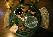 A Passover seder plate features symbolic foods that help tell the story of the exodus of the Jewish people from Egypt as told in the Old Testament of the Bible.