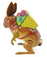 This 3 1/2-inch-tall tin rabbit with felt ears and a basket of eggs on its back hops when wound up. The Easter toy was made in the late 1940s and sold for just $42 at a Dick Soulis auction in Lone Jack, Mo.